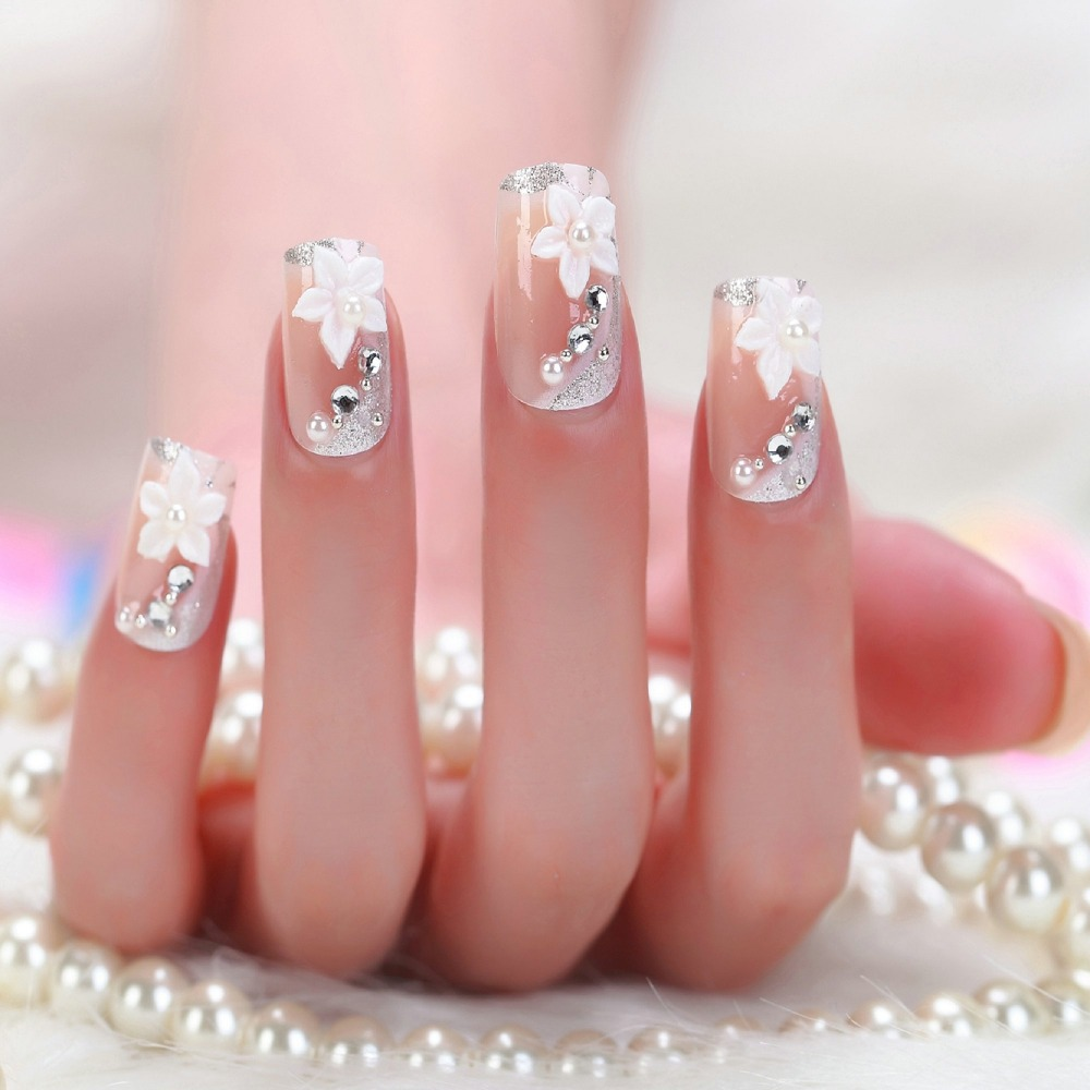2014 Nude color twill clear stiletto nails decorated designs 3d ...