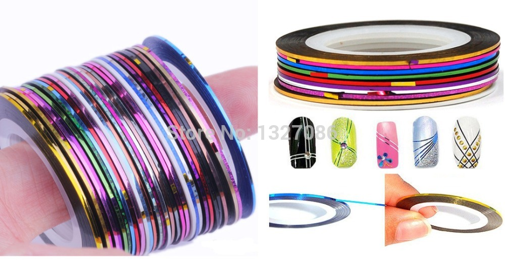 30Pcs 30 Multicolor Mixed Colors Rolls Striping Tape Line Nail Art ...