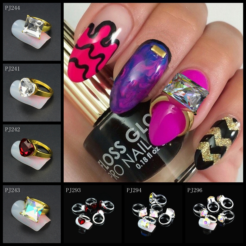 5Pcs/Lot 3D Nail Art Decorations Colorful Glitter Rhinestones Zircon ...