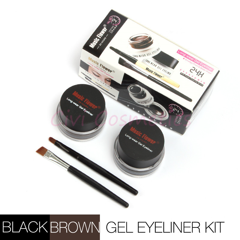 1891fc8dd21 Best Seller 2 in 1 Brown + Black Gel Eyeliner Make Up Water-proof and  Smudge-proof Cosmetics Set Eye Liner Kit in Eye Makeup