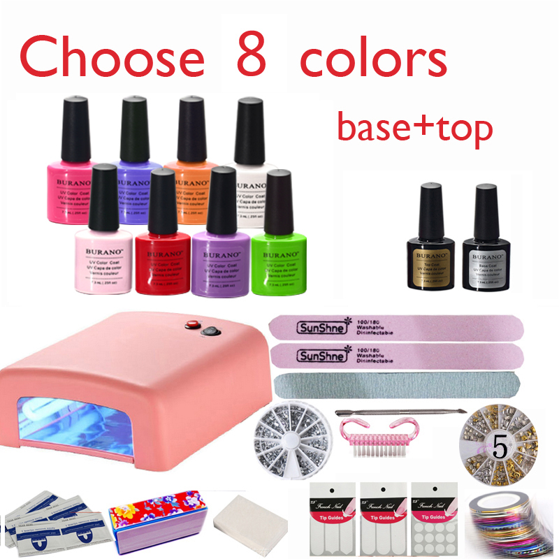 Burano nail kit art diy full set led soak off uv gel polish burano nail kit art diy full set led soak off uv gel polish manicure topcoatbasecoat 4color uv gel 36w lamp kit set 002 new prinsesfo Images