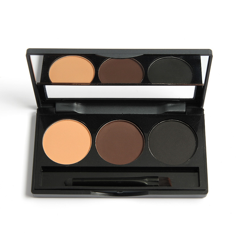 eyebrow shadow. new eyebrow cake pwoder brow powder makeup shadow 3 colors mix natural with brush and mirror r